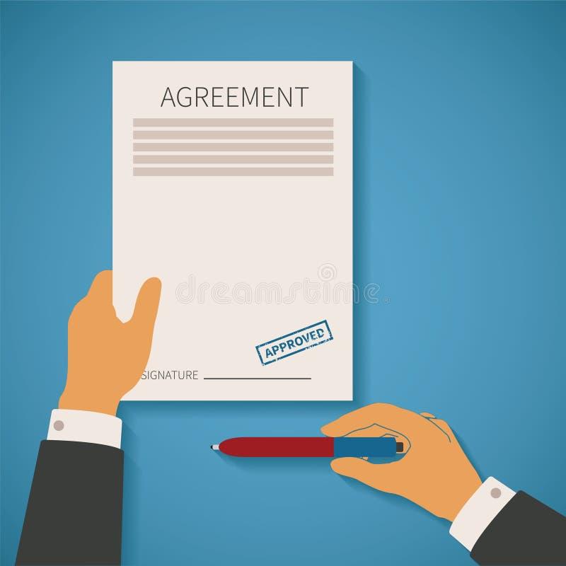 Vektorbegrepp av affärsavtalet med den överenskommelsepappersstämpeln och pennan stock illustrationer