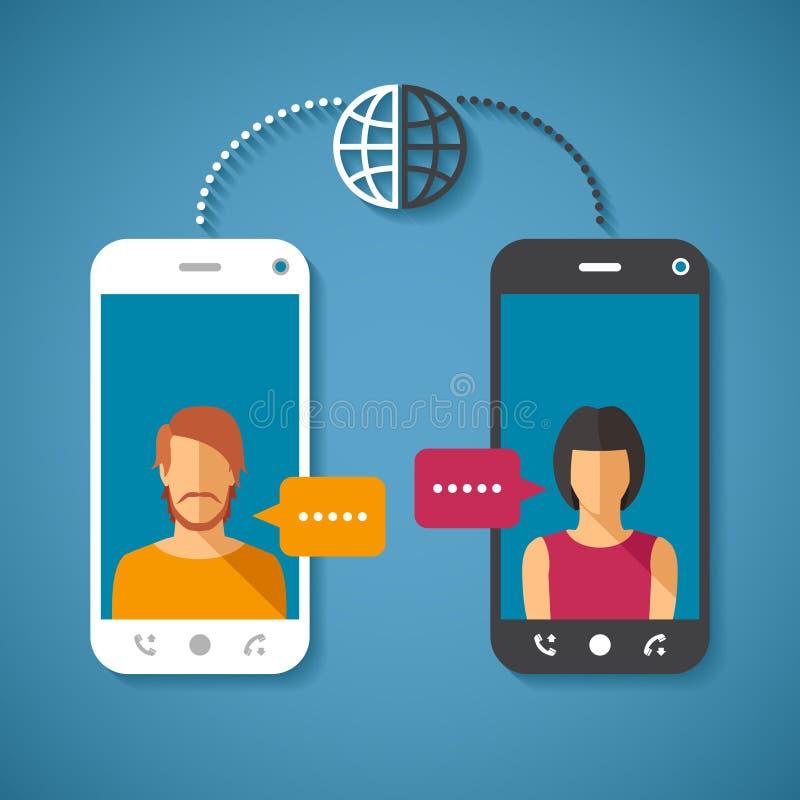 Vektorbegrepp av den globala kommunikationen för värld med långdistans royaltyfri illustrationer