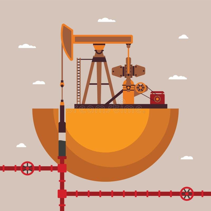 Vektorbegrepp av den olje- brunnen vektor illustrationer