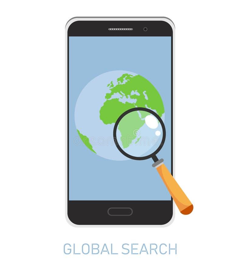 Vektorbegrepp av det globala sökandet med förstoringsapparaten på världskarta i mobiltelefonapplikation white för vektor för bakg stock illustrationer