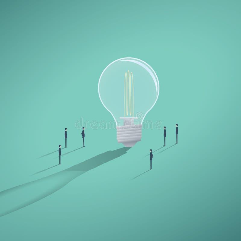 Vektorbegrepp av det idérika laget som har en idékläckning eller en workin på lösningen, idé Jätte- lightbulb med mycket litet vektor illustrationer