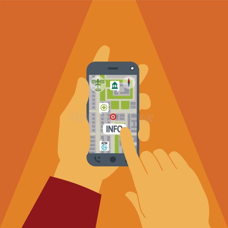 Vektorbegrepp av gps-navigering på smartphonen royaltyfri illustrationer