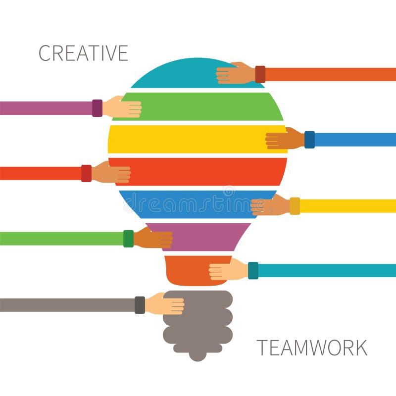 Vektorbegrepp av idérik teamwork stock illustrationer