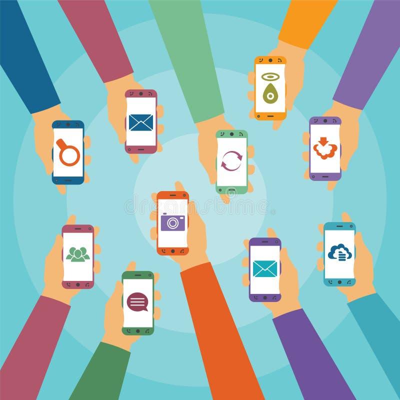 Vektorbegrepp av modern mobil trådlös teknologi vektor illustrationer