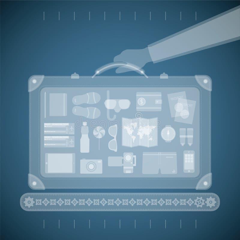 Vektorbegrepp av röntgenstråleflygplatsbildläsaren för turism- och affärsloppbransch vektor illustrationer