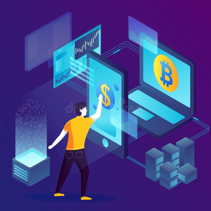 Vektorbegrepp - Blockchain processinvesteringar stock illustrationer