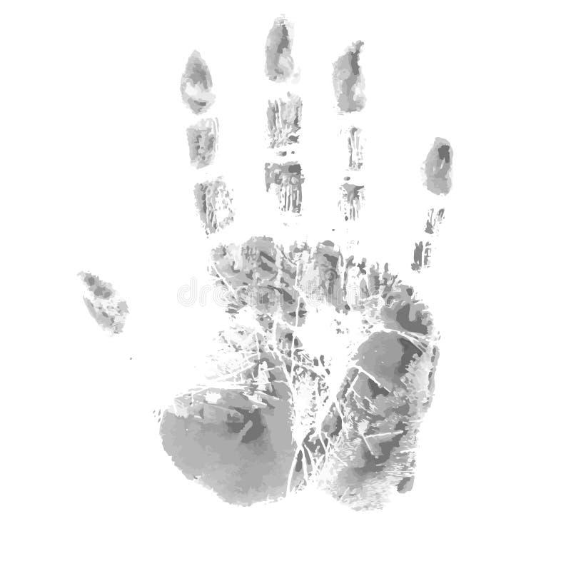 Vektorbegrepp eller hand eller handprint för begreppsmässig gullig målarfärg mänsklig vektor illustrationer