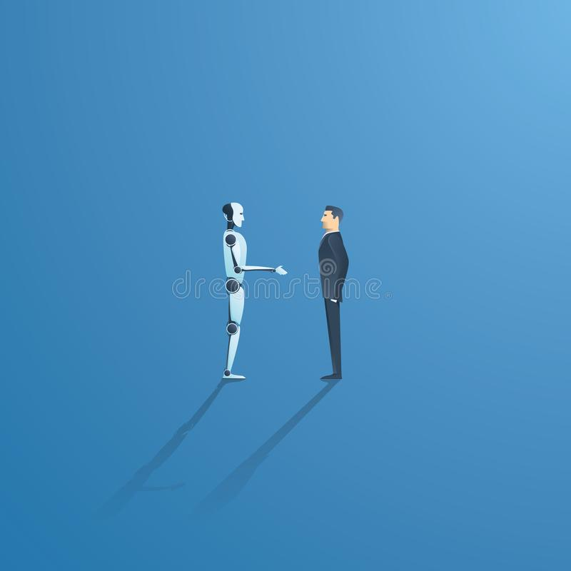 Vektorbegrepp för Ai eller för konstgjord intelligens med ai-robothandskakningen med människan Symbol av framtida samarbete stock illustrationer