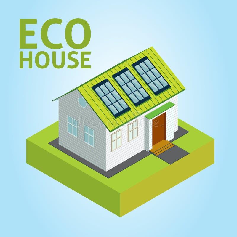 Vektorbegrepp för grönt hus stock illustrationer