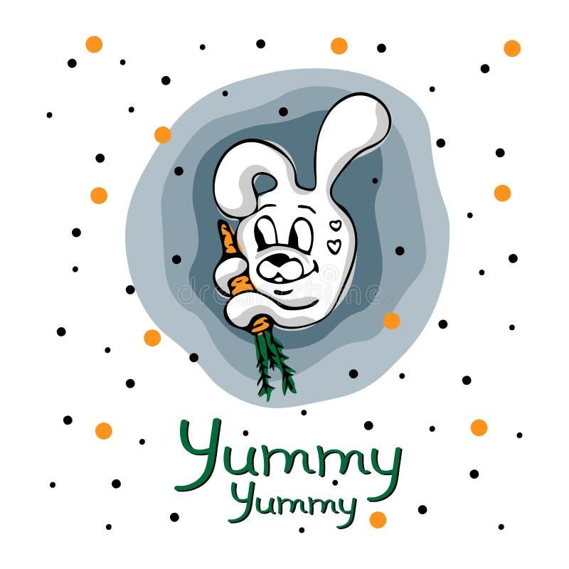 Vektorbegrepp med den gulliga kaninen, moroten och punkter vektor illustrationer