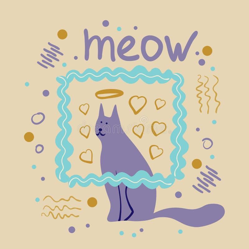 Vektorbegrepp med den gulliga katten i mjuka färger vektor illustrationer
