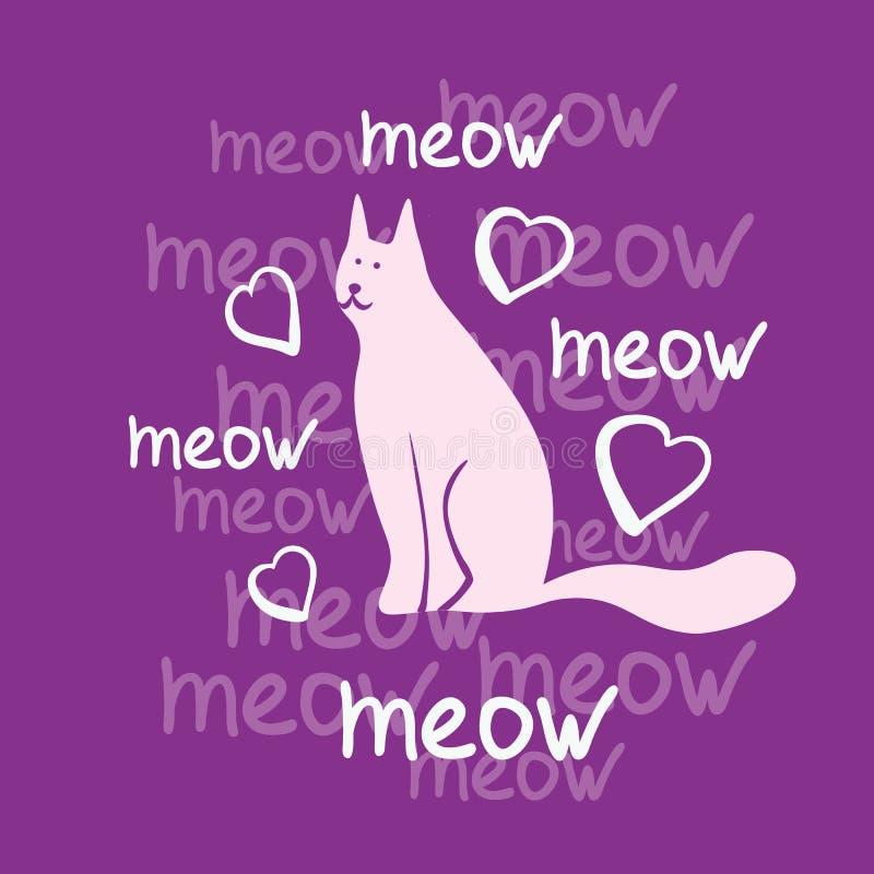 Vektorbegrepp med den gulliga katten i purpurfärgade färger stock illustrationer