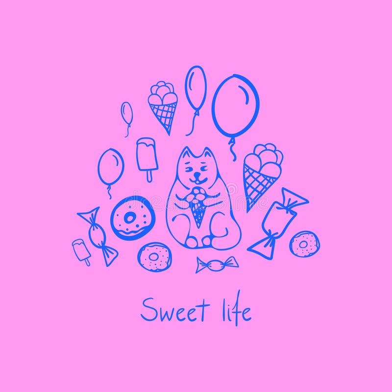 Vektorbegrepp med den gulliga katten och olika sötsaker royaltyfri illustrationer