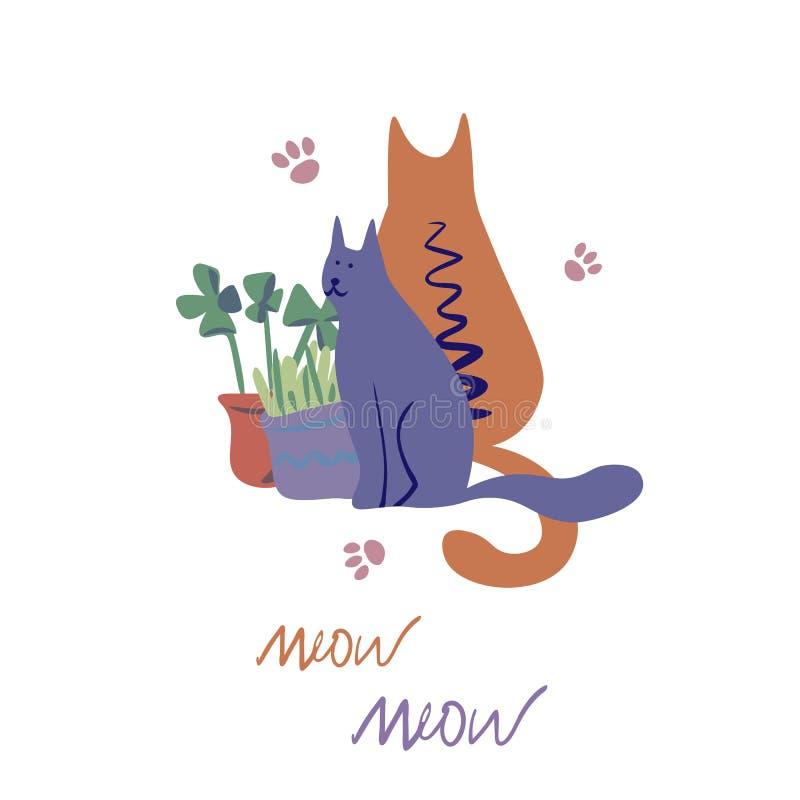 Vektorbegrepp med gulliga katter i mjuka färger vektor illustrationer