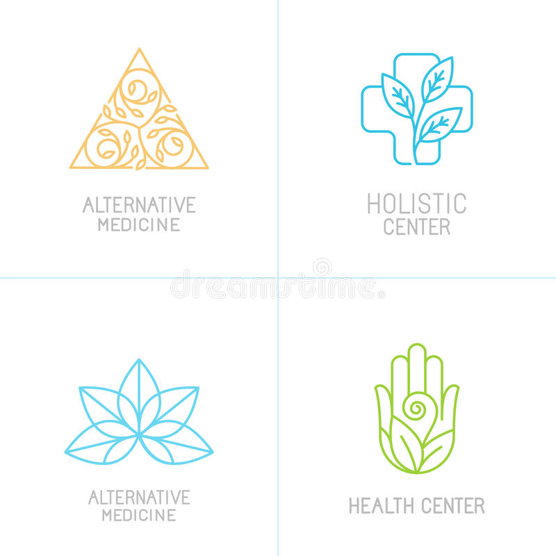 Vektorbegrepp och logodesignmallar royaltyfri illustrationer