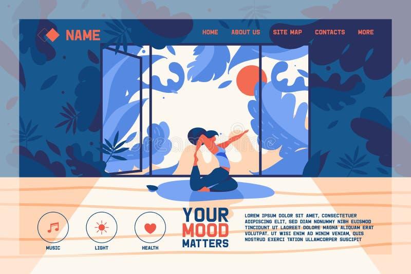 Vektorbegreppsbaner eller landa sidamallen för webbsidor av yogagrupp- eller yogistudion Flar tecken, grönska och öppet royaltyfri illustrationer