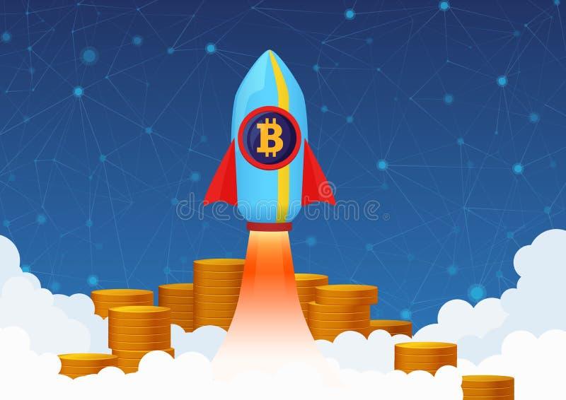 Vektorbegreppsillustration av Bitcoin tillväxt med raket och mynt Cryptocurrency pump stock illustrationer