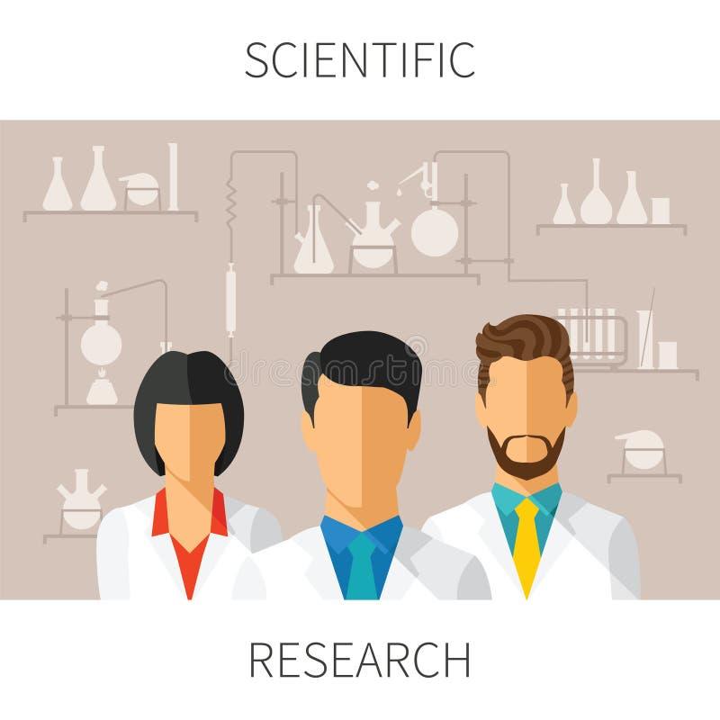 Vektorbegreppsillustration av vetenskaplig forskning med forskare i kemiskt laboratorium stock illustrationer