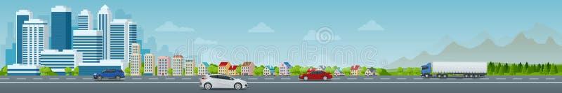 Vektorbegreppsstad och förorts- liv Stadsgata, stora moderna byggnader, cityscape, bilar stads- liggande royaltyfri illustrationer