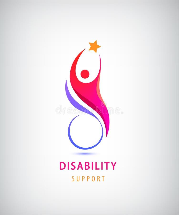 Vektorbehinderterunterstützung, Sport, Hilfslogo, Ikone Mann, der auf dem Rollstuhl sitiing ist lizenzfreie abbildung