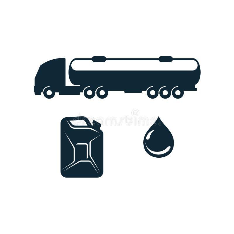 Vektorbensinlastbil, bränslekanister, olje- droppe stock illustrationer