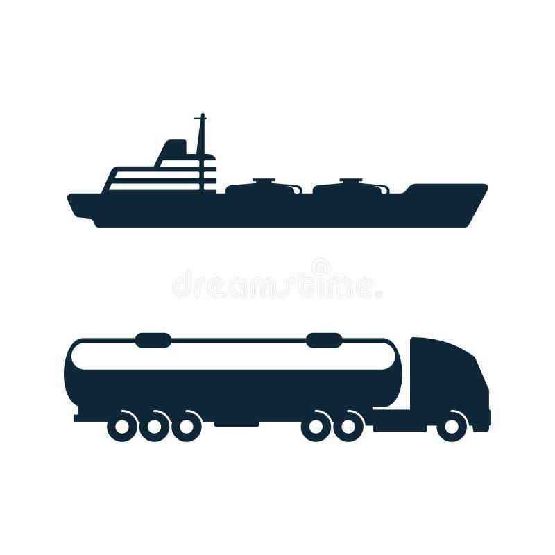 Vektorbensintankbil, olje- skeppsymbolsuppsättning vektor illustrationer