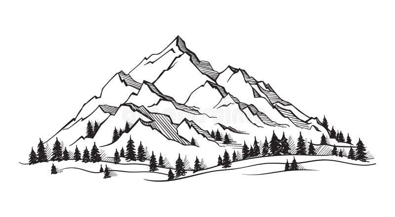 Vektorberg med textur vektor illustrationer