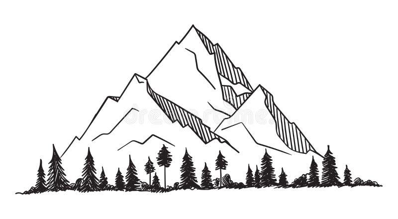 Vektorberg med textur stock illustrationer