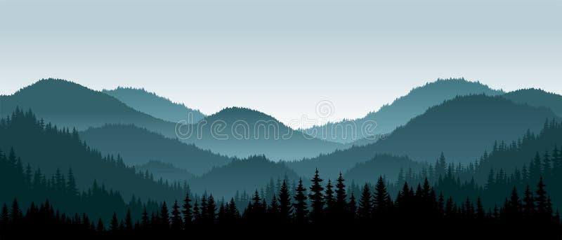 Vektorberglandskap - sömlös bakgrund vektor illustrationer