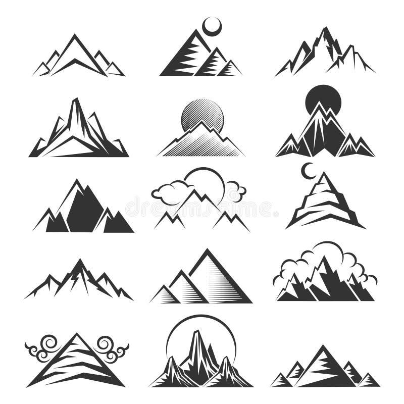 Vektorbergsymboler vektor illustrationer