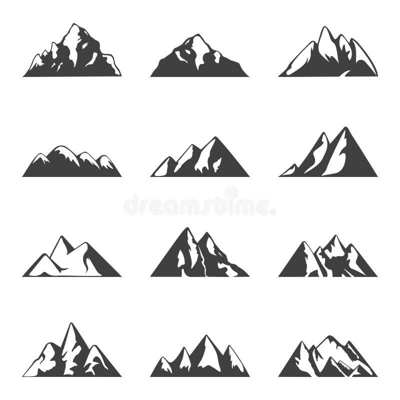 Vektorberguppsättning Enkla svartvita symboler eller designmallar Lopp och att fotvandra, campa tema royaltyfri illustrationer