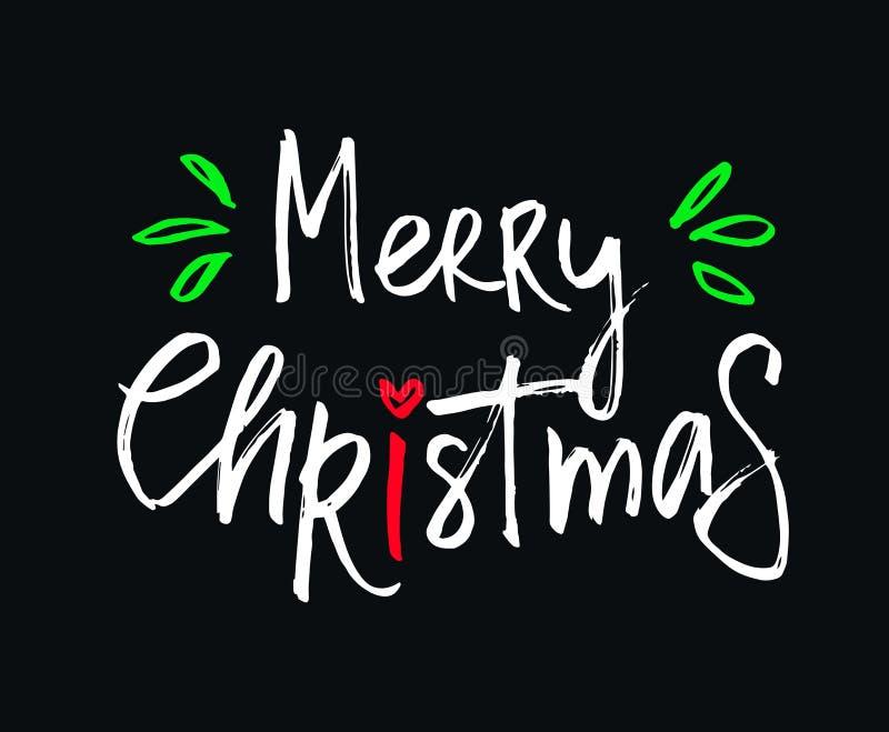 Vektorbeschriftung der frohen Weihnachten mit schönem farbigem schwarzem Hintergrund der Verzierungen vektor abbildung