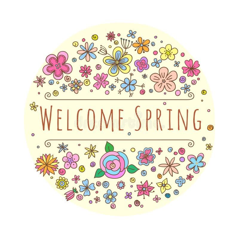 Vektorbeschriftung Willkommens-Frühling mit dekorativen Blumen- und Blattelementen auf weißem und beige Hintergrund, Hand gezeich lizenzfreie abbildung