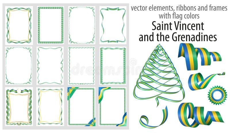 Vektorbeståndsdelar, band och ramar med flaggan färgar Saint Vincent och Grenadinerna, mallen för ditt certifikat och diplom stock illustrationer