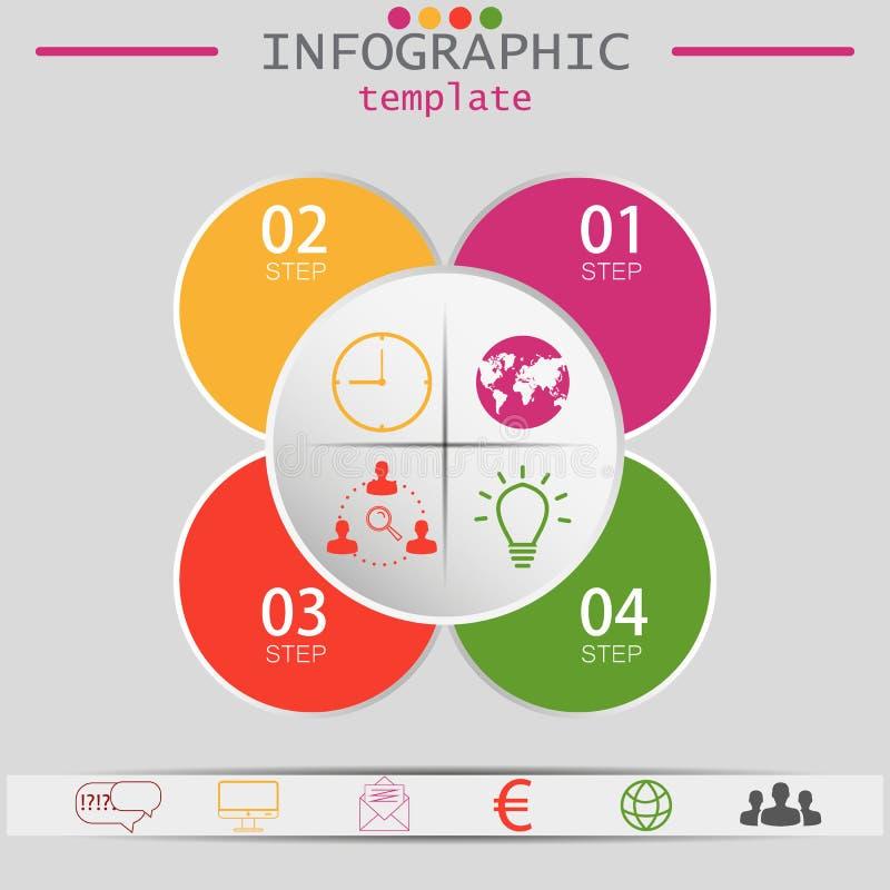 Vektorbeståndsdelar för infographic Mall för diagram, graf, presentation och diagram Affärsidé med 4 alternativ vektor illustrationer