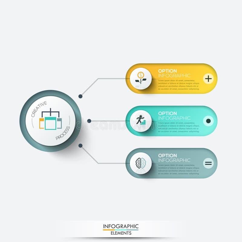 Vektorbeståndsdelar för infographic Mall för diagram, graf, presentation och diagram Affärsidé med 3 alternativ vektor illustrationer