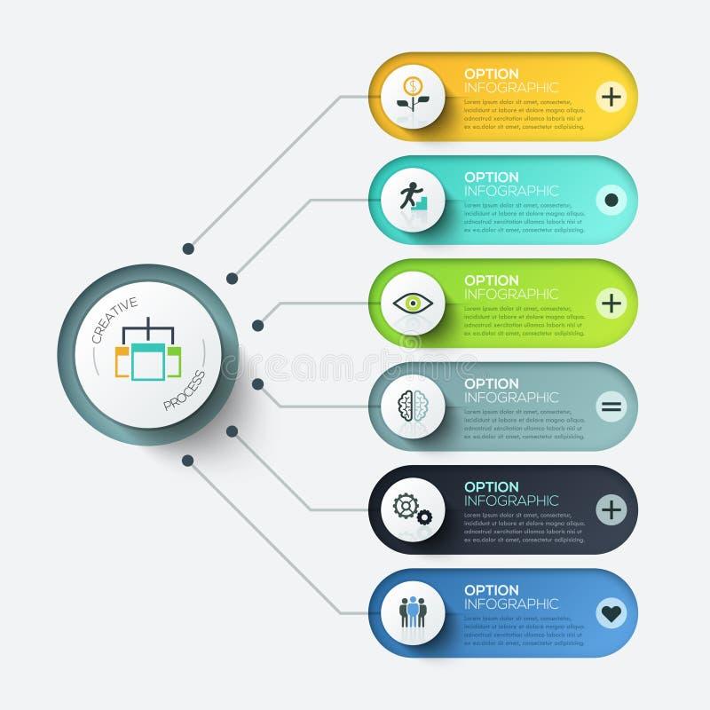 Vektorbeståndsdelar för infographic Mall för diagram, graf, presentation och diagram Affärsidé med 6 alternativ royaltyfri illustrationer
