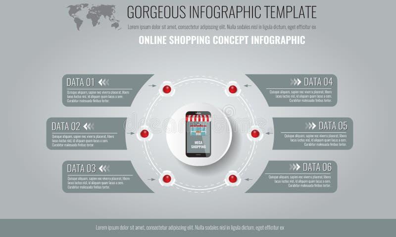 Vektorbeståndsdelar för infographic Mall för diagram, graf, presentationen och diagram med affärsidé och med 6 vektor illustrationer