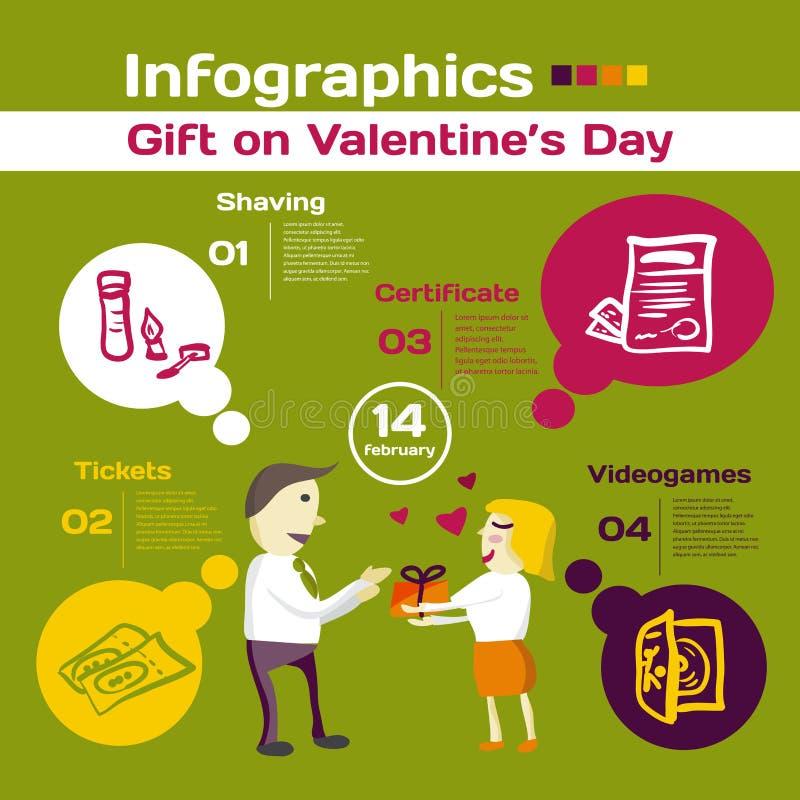 Vektorbeståndsdelar för infographic Mall för gåva på valentin vektor illustrationer