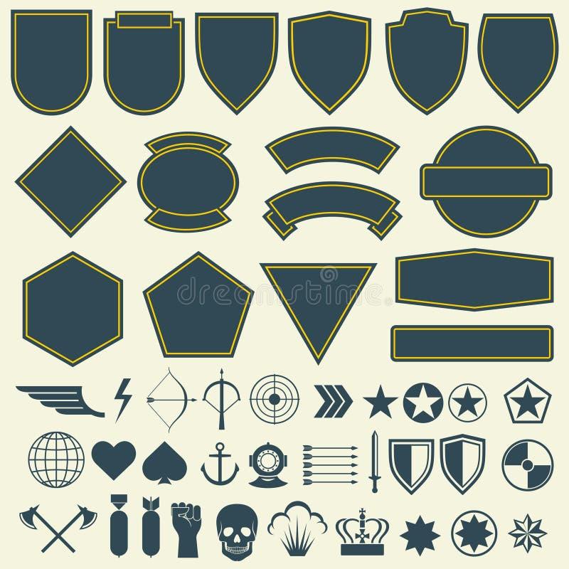 Vektorbeståndsdelar för militär, armélappar, emblem ställde in stock illustrationer