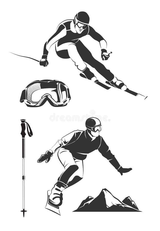 Vektorbeståndsdelar för tappning skidar, och snowboarden märker emblem stock illustrationer