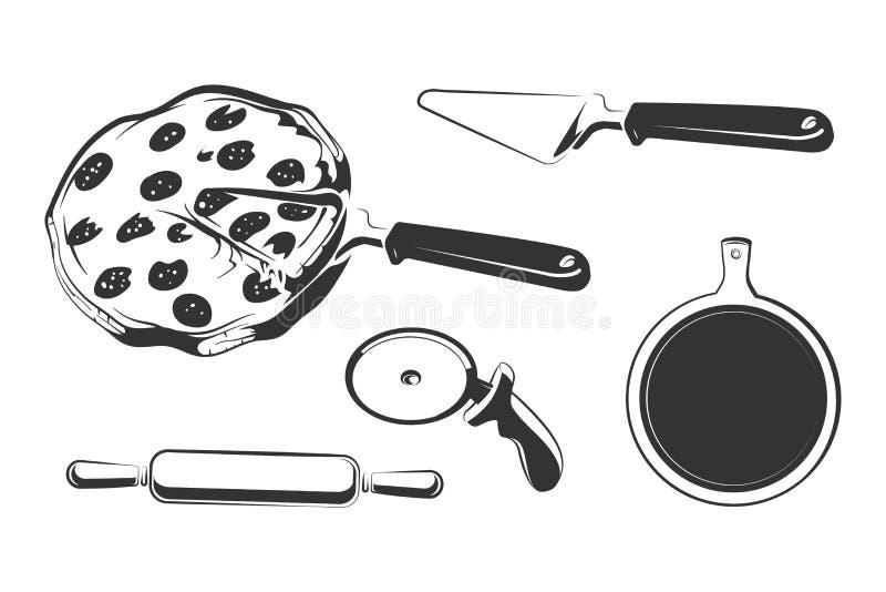 Vektorbeståndsdelar för tappningpizzaetiketter och logoer, emblem eller emblem royaltyfri illustrationer