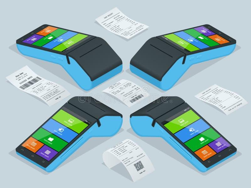 Vektorbetalningmaskin och kassakvitto Pos.-terminalen bekräftar betalningen vid debiteringkreditkorten, invoce vektor vektor illustrationer