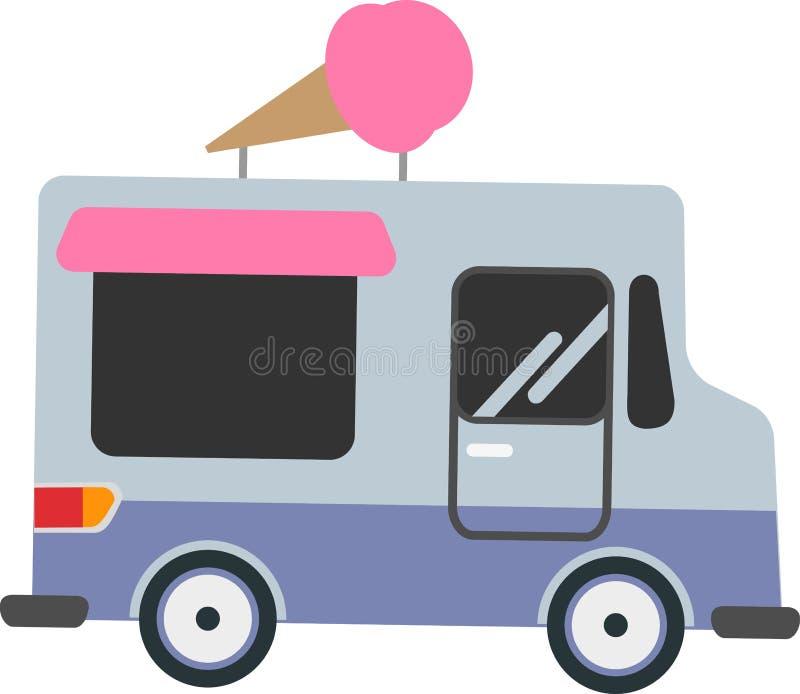 Vektorbil som säljer glass på en vit bakgrund stock illustrationer