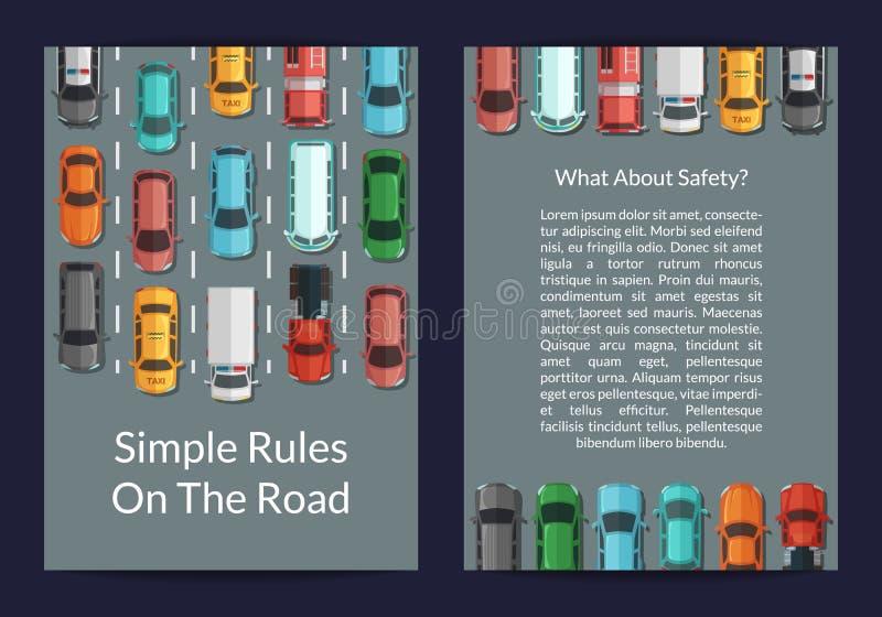 Vektorbilar på mallen för kort eller för reklamblad för bästa sikt för väg royaltyfri illustrationer