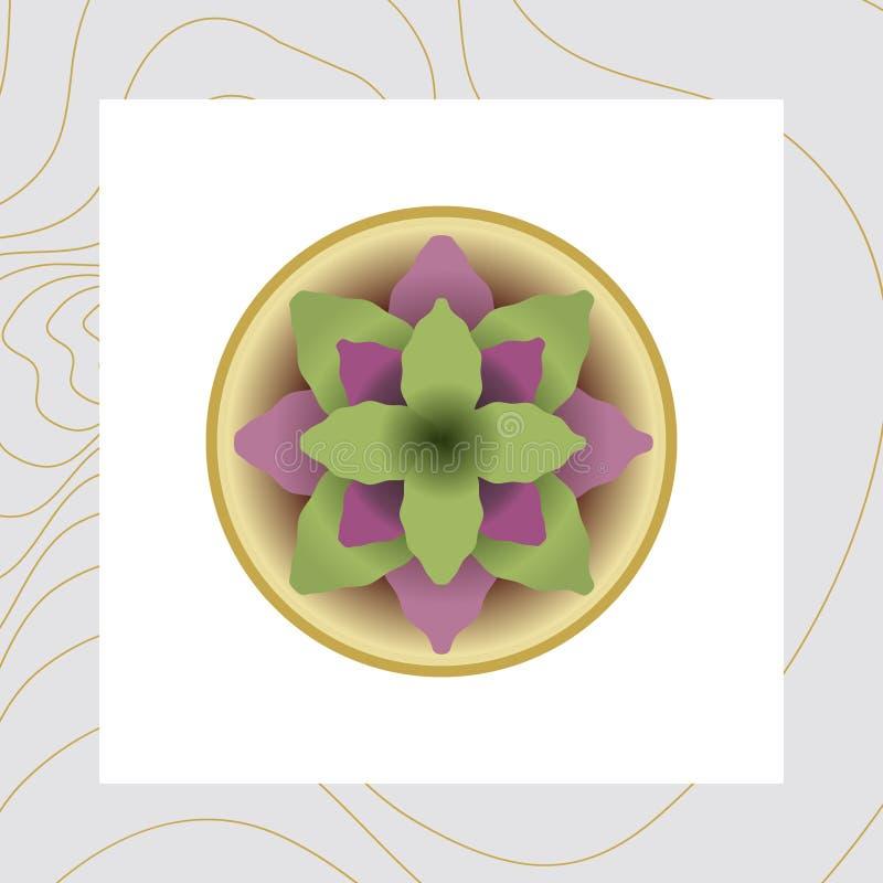 Vektorbild av blommor och växter i krukor, ikebana royaltyfri illustrationer