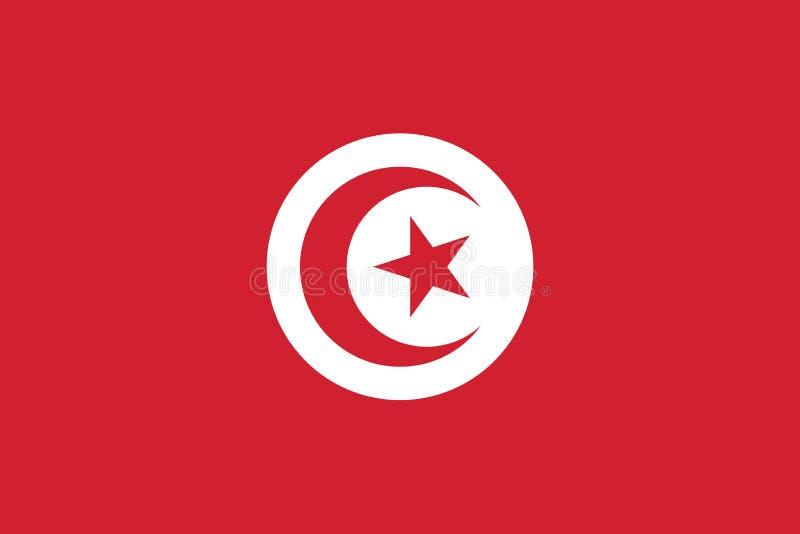 Vektorbild av den Tunisien flaggan royaltyfri illustrationer