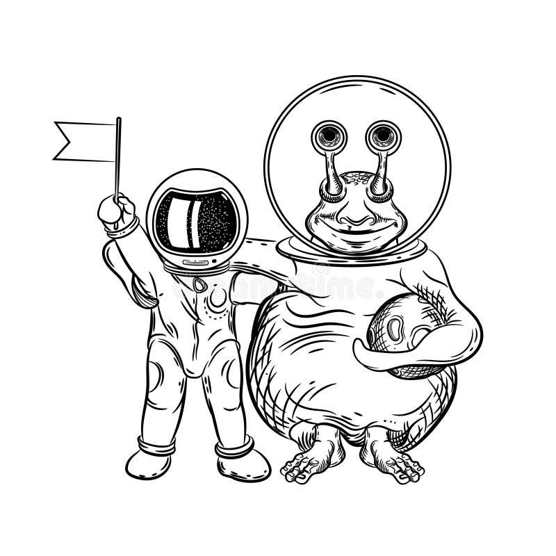 Vektorbild av en astronaut och en främling Kontakt med en utomjordisk civilisation Illustration f?r utrymmevektor royaltyfri illustrationer