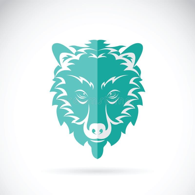 Vektorbild av en björnhuvuddesign på vit bakgrund stock illustrationer