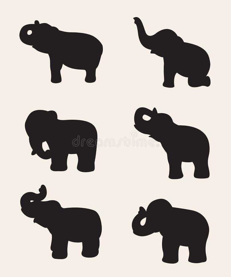 Vektorbild av en elefantkontur vektor illustrationer